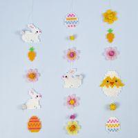 Ghirlanda pasquale con perle Nabbi, coniglietti, uova di Pasqua, fiori e un pulcino