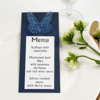 Un menù blu con farfalla fustellata