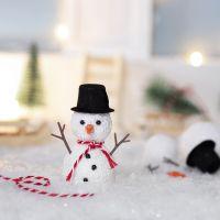 L'Elfo costruisce un pupazzo di neve fuori dalla sua porta d'ingresso