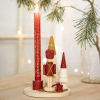 Candeliere decorato con Schiaccianoci, alberi di Natale e mini perle in vetro