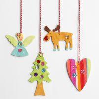 Decori natalizi pendenti in legno con strass