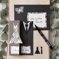 Un invito a nozze decorato con un abito e una giacca