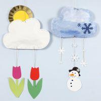 Decori mobili a forma di nuvole con diversi simboli meteorologici in carta kraft e cartoncino