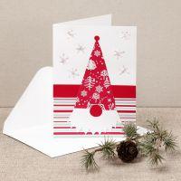 Un biglietto natalizio con folletto curiosone in carta fantasia