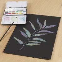 Un'immagine ad acquerello su carta da acquerello nera con acquerelli metallici