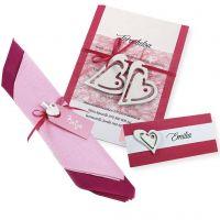 Invito, segnaposto e decorazioni per i tovaglioli in bianco e rosa