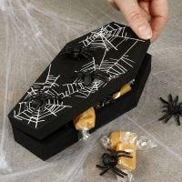 Una bara di Halloween con i ragni